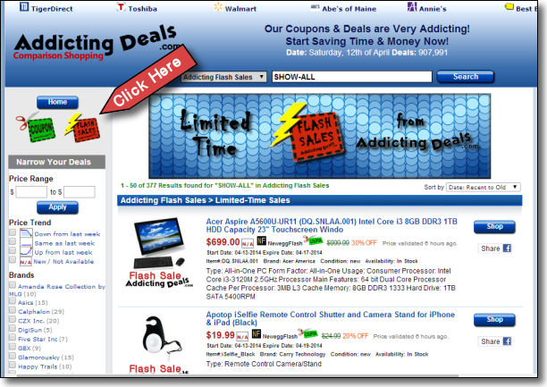 Flash Sales at AddictingDeals.com